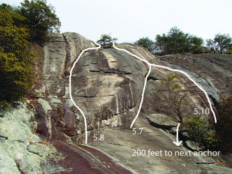 "Final pitches of the Enigma and Southender extension dubbed ""Southend Vimicolor"". Note: The right 5.10 was TR'd from the pine tree and was excellent. A lead of the climb could be an ankle biter."