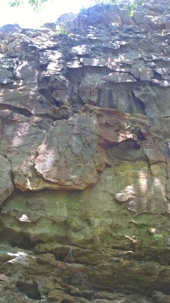 The wolf shaped rock is clearly visible on this interesting route