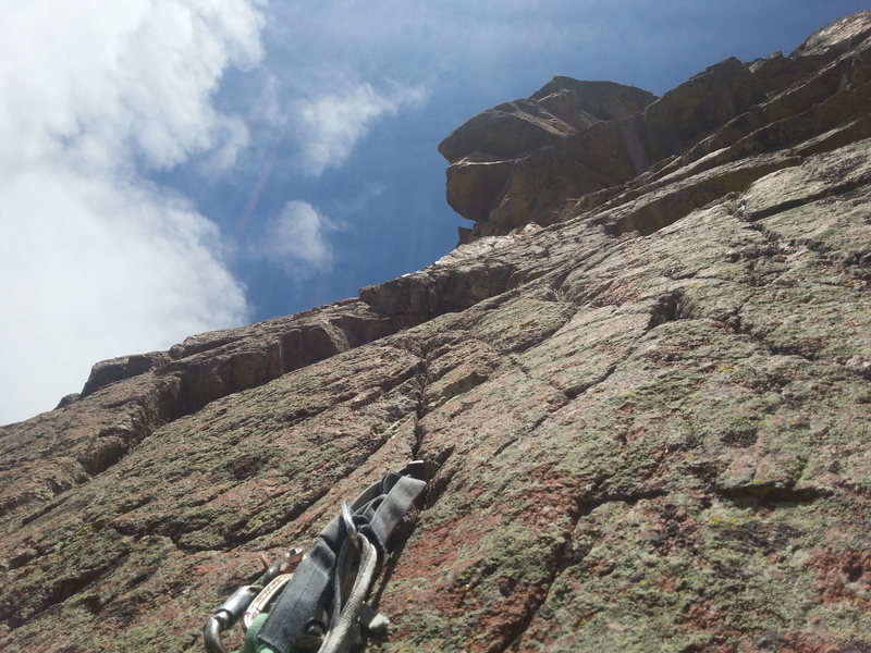 Rock Climbing Photo: Looking up pitch 2 (10a)  of Fistful of Steel. The...