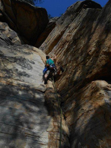 Trad climbing at Start Mountain, TN