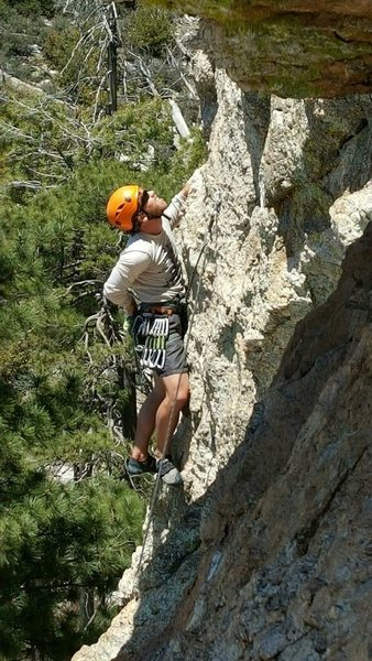 Working the crux section of In Lightning on Mt Lemmon 5/1/2015
