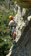 Rock Climbing Photo: Working the crux section of In Lightning on Mt Lem...
