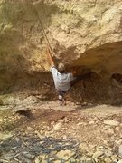 """Rock Climbing Photo: The """"full value"""" sit start in Ancient Ax..."""