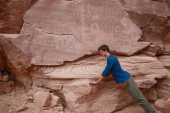 Rock Climbing Photo: At one with my petroglyph goat ancestors