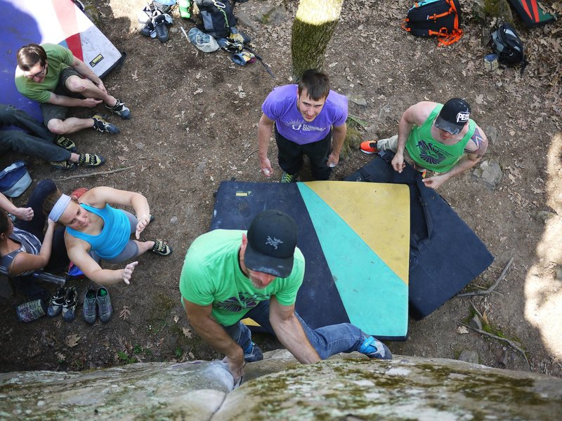 Rock Climbing Photo: Satermo into the undercling