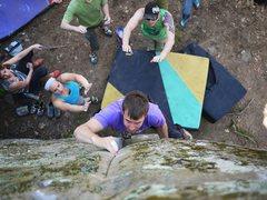 Rock Climbing Photo: Up to the slipery seam
