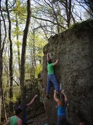 Rock Climbing Photo: From the slippery seam to the slopey jug