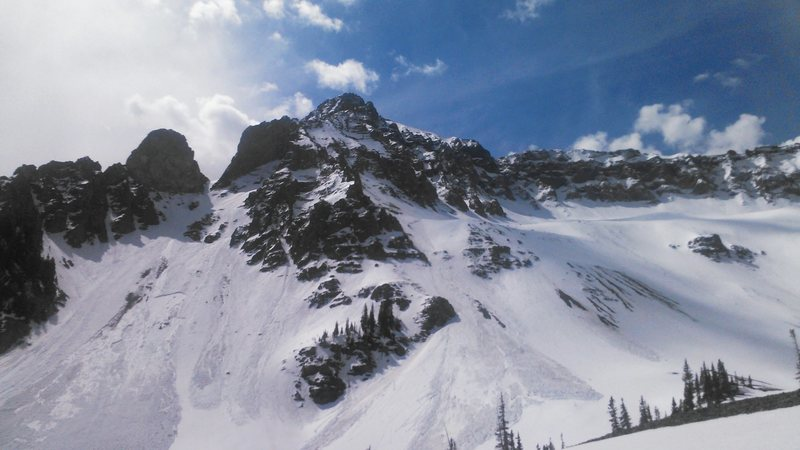 West face of Mears Pk. below highpoint (West summit) and the bottom of the North Ridge. Lower West N. Ridge in center and lower East N. Ridge left skyline.West ridge right skyline.<br> <br> Taken 02May2015 in unsavory snow conditions.