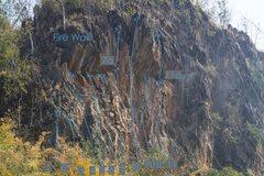 Rock Climbing Photo: Fire Wall Topo: 1: Win For The Win (5.11a) 2: Devi...
