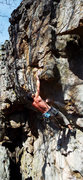 Rock Climbing Photo: Heave Ho 5.11a Deadpoint move at crux.
