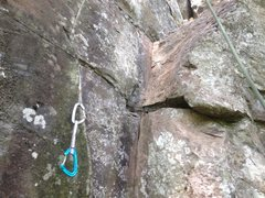 Rock Climbing Photo: A tricky to spot placement but important protectio...