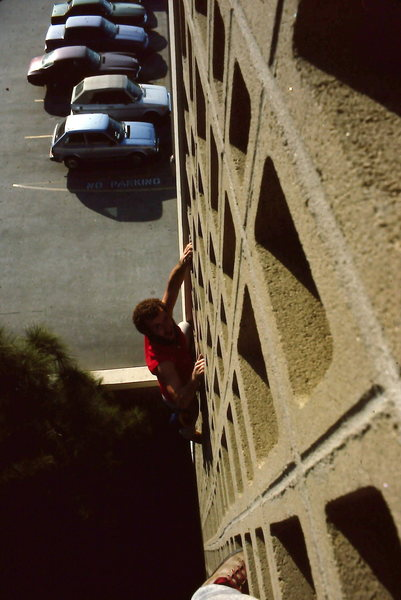 """The Rush"", Parking lot tower, 5.1 (X), ca. 1983, Climber: Jim Steele"