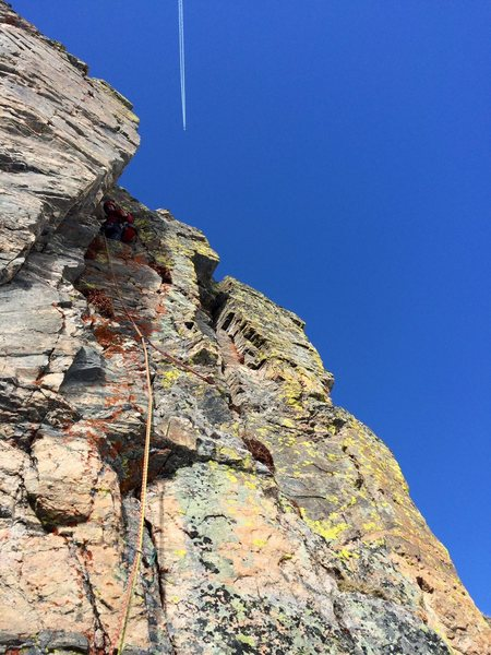 "The crux dihedral pitch of ""Booby Trap""."