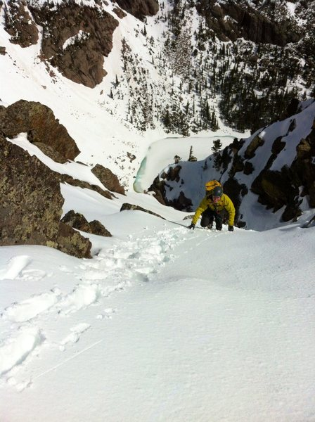 Rock Climbing Photo: Eddie cruising easy snow just below the top.