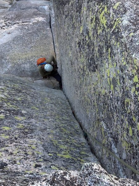 Rock Climbing Photo: Looking down upper fingers dihedral.