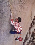 Rock Climbing Photo: Mark Wilford on the Bishop Crack (5.12b), South Pl...