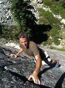 Rock Climbing Photo: Chris Drake on 5.8, Fun House, Bowman, CA.