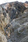 Rock Climbing Photo: Devil's Right Leg with draws hung.