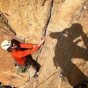 Rock Climbing Photo: Leading the first pitch of Lion's Jaw, Photo by Da...