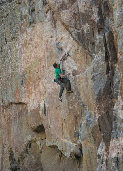 Mike Snyder on the FA of The Dog Soldier .13b.<br> Photo: Sam Lightner Jr.