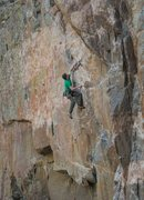 Rock Climbing Photo: Mike Snyder on the FA of The Dog Soldier .13b. Pho...