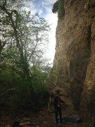 Rock Climbing Photo: Jim at the bottom of Perfect Crimb.