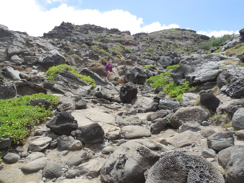Nearing the Blowhole. This the boulder strewn lower end of the approach gulley.