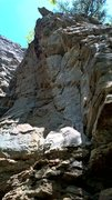 Rock Climbing Photo: Follow the blunt arete up the overhang to the anch...