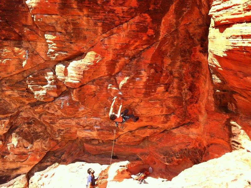 """Rock Climbing Photo: Climber on """"Insecure Delusions"""" (5.12a) ..."""