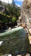 Rock Climbing Photo: full raging icicle creek...good idea to top rope. ...