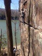 Rock Climbing Photo: Krishna half-way up Whinerlamer. Fun route! It's a...
