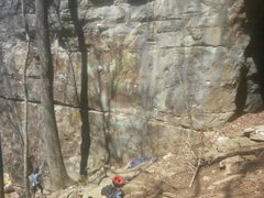 Rock Climbing Photo: Bottom of Jowiki on the right, with someone belayi...