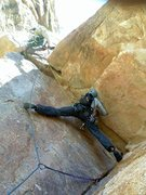 Rock Climbing Photo: David stemming it out at the top of the 1st pitch