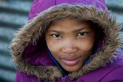 Rock Climbing Photo: A young San woman