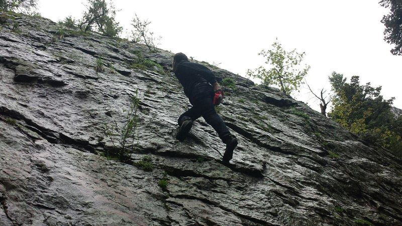 Soloing on wet rock! Not the best idea but when you have the itch you have to run with it.