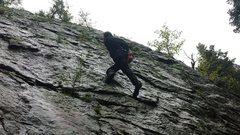 Rock Climbing Photo: Soloing on wet rock! Not the best idea but when yo...