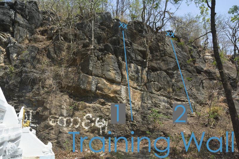 Rock Climbing Photo: Training Wall topo photo:  1: The Mack Down 2: Say...