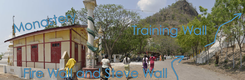 For Fire Wall, Monk's Life Wall, and Steve Wall, continue up the road. For Training Wall, go up the stairs across from the monastery.