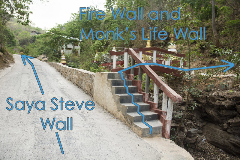 Turn right and cross the bridge for Fire Wall and Steve Wall.
