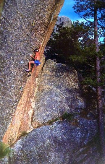 Colin Lantz on Jacknife Matinee (5.13a), Black Hills <br> <br> Photo: Colin Lantz Collection
