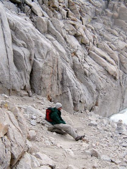Taking a break on the way down The Mountaineer's Route, High Sierra