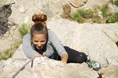Rock Climbing Photo: Edith trying hard on Unnatural Act (10b)