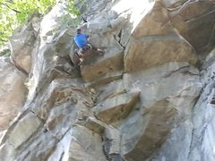 Rock Climbing Photo: Me on the crux, just prior to the main crux move. ...