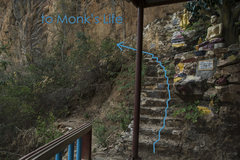 Rock Climbing Photo: Take this final set of stairs and follow the wall ...