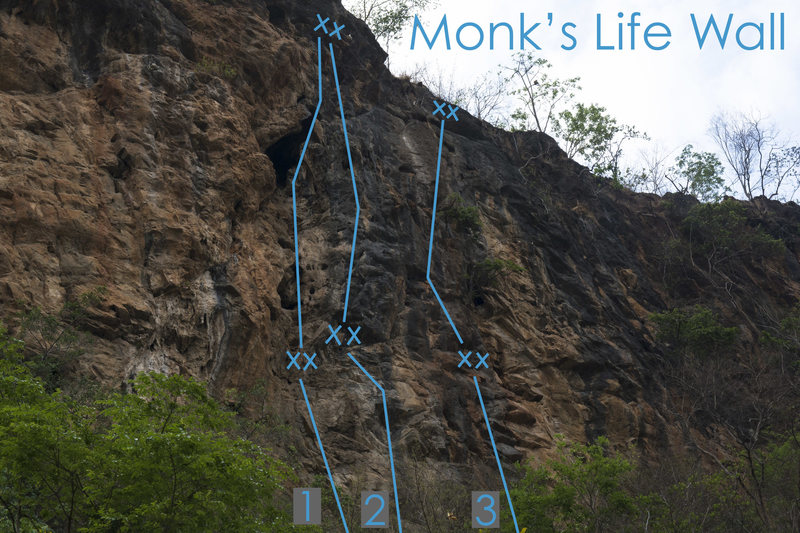 Rock Climbing Photo: Monk's Life topo photo, Slingshot Monkey is number...