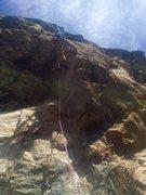 Rock Climbing Photo: At the arête crux on hard Warm-up.