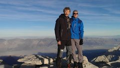 Rock Climbing Photo: Brian and I on Whitney after climbing east buttres...