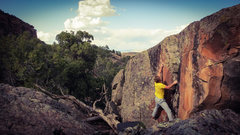 Rock Climbing Photo: Reaching the left hand crimp on Death Is The Growe...