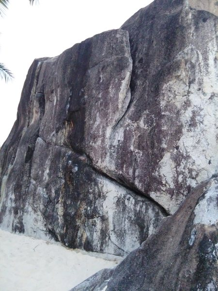 Spring Bay Boulder, with Island Flake in the foreground, and Island Crack about 10 feet to the left.