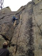 Rock Climbing Photo: Me choosing the easyer of the three bottom cracks.
